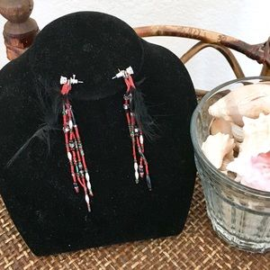 MACY'S Black and Red Feather Dangle Earrings